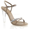 CLEARLY-415 Taupe Faux Leather/Rhinestone